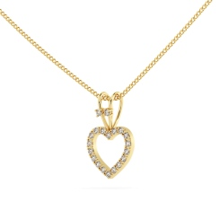 HPR17 Round Heart Shape Diamond Pendant - yellow