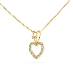 HPR17 Round Heart Shape Diamond Pendant - yellow