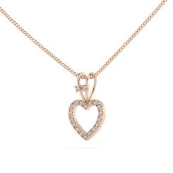HPR17 Round Heart Shape Diamond Pendant - rose