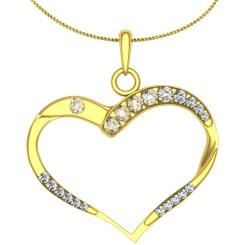 HPR18 Round Heart Shape Diamond Pendant - yellow