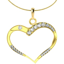 HPR18 Round Heart Shape Diamond Pendant - yellow