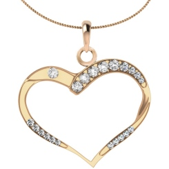 HPR18 Round Heart Shape Diamond Pendant - rose