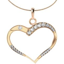 HPR18 Round Heart Shape Diamond Pendant - rose