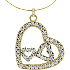 HPR19 Round Heart Shape Diamond Pendant - yellow