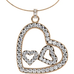 HPR19 Round Heart Shape Diamond Pendant - rose