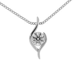 HPR1 Round Solitaire Diamond Pendant - white
