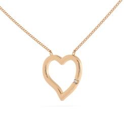 HPR20 Round Heart Shape Diamond Pendant - rose