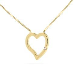 HPR20 Round Heart Shape Diamond Pendant - yellow
