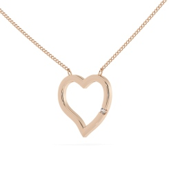 HPR20 Round Heart Shape Diamond Pendant - rose