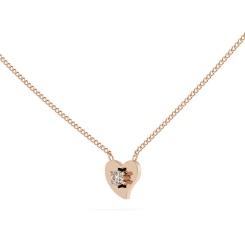 HPR21 Round Heart Shape Diamond Pendant - rose
