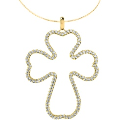 HPR27 Round Cross Diamond Pendant - yellow