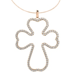 HPR27 Round Cross Diamond Pendant - rose