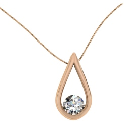 HPR2 Round Pear Designer Diamond Pendant - rose