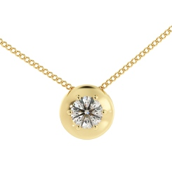 HPR4 Round Solitaire Diamond Pendant - yellow