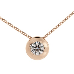 HPR4 Round Solitaire Diamond Pendant - rose