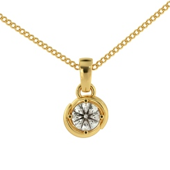 HPR58 Round Solitaire Pendant - yellow