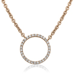 HPRDR113 Circle of Life Round Diamond Pendant & Fixed Chain - rose