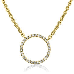 HPRDR113 Circle of Life Round Diamond Pendant & Fixed Chain - yellow