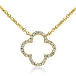 HPRDR114 Round cut Plus Diamond Pendant & Fixed Chain - yellow