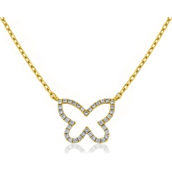 HPRDR115 Round cut Butterfly Diamond Pendant & Fixed Chain - yellow