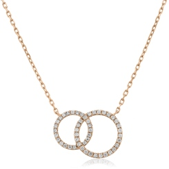 HPRDR116 Twin Circle of Life Round Diamond Pendant - rose