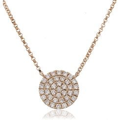 HPRDR117 Round cut Circle Cluster Diamond Pendant - rose