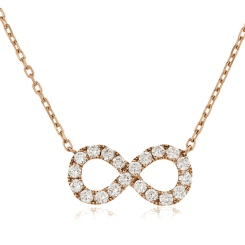 HPRDR118 Round cut Infinity Diamond Pendant - rose