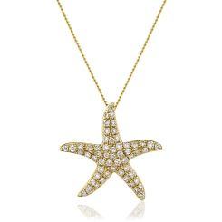 HPRDR119 Round cut Star Diamond Pendant - yellow