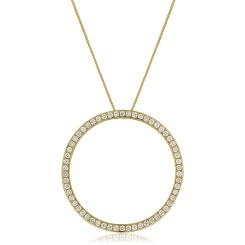 HPRDR123 Circle of Life Micro set Round cut Diamond Pendant - yellow