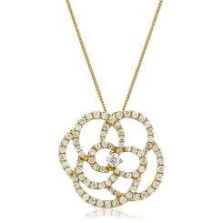 HPRDR128 Round cut Spiral Flower Diamond Pendant - yellow
