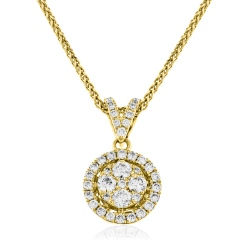 HPRDR130 Round cut Halo & Cluster Diamond Pendant - yellow