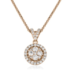 HPRDR130 Round cut Halo & Cluster Diamond Pendant - rose