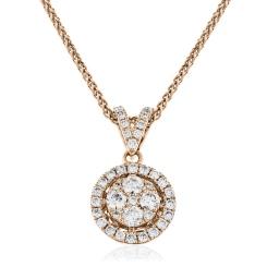 HPRDR130 Round cut Halo & Cluster Diamond Pendant - rose