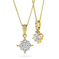 HPRDR131 Princess Cluster Diamond Pendant - yellow