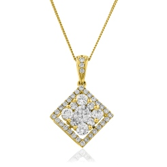 HPRDR132 Princess shaped Round cut Halo & Cluster Diamond Pendant - yellow