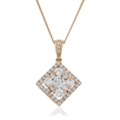 HPRDR132 Princess shaped Round cut Halo & Cluster Diamond Pendant - rose