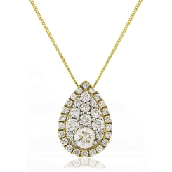 HPRDR133 Tear Drop Round cut Halo & Cluster Diamond Pendant - yellow