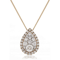 HPRDR133 Tear Drop Round cut Halo & Cluster Diamond Pendant - rose