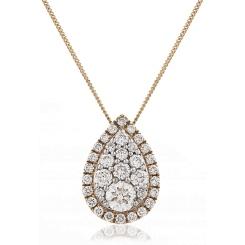 HPRDR133 Tear Drop Round cut Halo & Cluster Diamond Pendant - rose