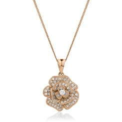HPRDR136 Blooming Flower Round cut Designer Diamond Pendant - rose