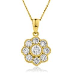 HPRDR138 Round cut Designer Diamond Pendant - yellow