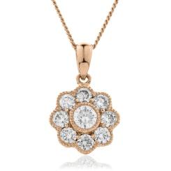 HPRDR138 Round cut Designer Diamond Pendant - rose