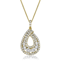 HPRDR141 Round cut Designer Diamond Pendant - yellow