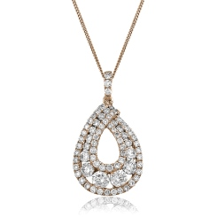 HPRDR141 Round cut Designer Diamond Pendant - rose