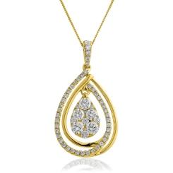 HPRDR142 Round cut Designer Diamond Pendant - yellow