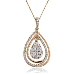 HPRDR142 Round cut Designer Diamond Pendant - rose