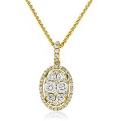 HPRDR143 Round cut Designer Diamond Pendant - yellow