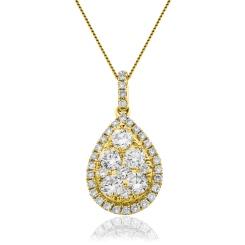HPRDR144 Round cut Designer Diamond Pendant - yellow
