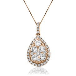 HPRDR144 Round cut Designer Diamond Pendant - rose