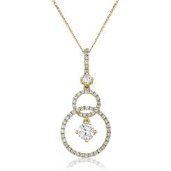 HPRDR156 Round cut Designer Diamond Pendant - yellow